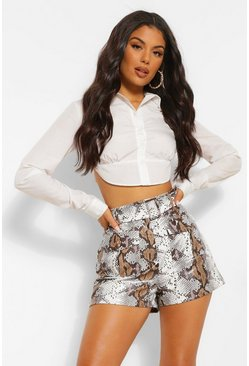 Grey Snake Print Faux Leather Pu Pocket Front Shorts