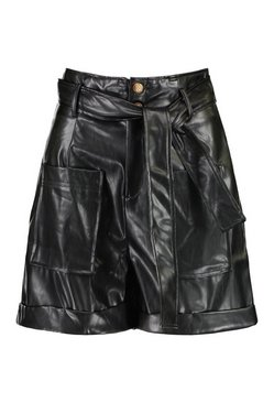 Black Faux Leather Pu Pocket Front Belted Shorts