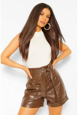Chocolate brown Faux Leather Pu Pocket Front Belted Shorts
