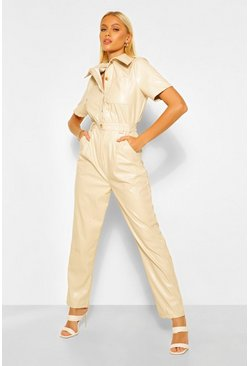 Ecru white Faux Leather Pu Boiler Jumpsuit