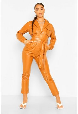 Caramel beige Faux Leather Pu Wrap Belted Boiler Jumpsuit