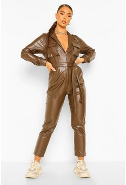 Chocolate brown Faux Leather Pu Wrap Belted Boiler Jumpsuit