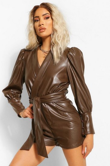 Chocolate brown Faux Leather Pu Wrap Belted Playsuit