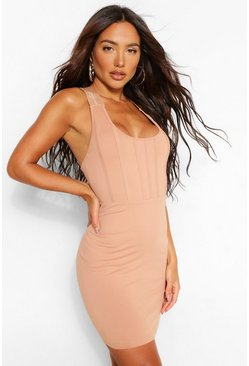 Tan brown Sculpt Elastic Tape Scoop Back Bodycon Dress