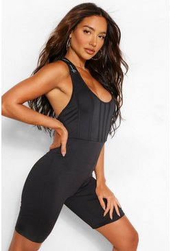 Black Sculpt Elastic Tape Scoop Neck Unitard