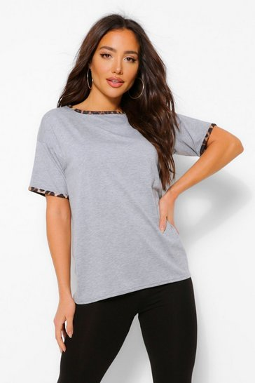 Grey marl grey Leopard Print Ringer T-Shirt and Legging Set