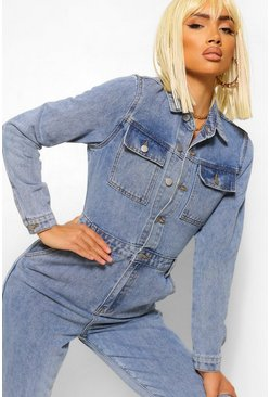 Denim Vintage Wash Pocket Jumpsuit