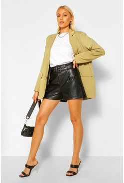 Black Eyelet Belted PU Faux Leather Shorts
