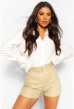 Ecru white Eyelet Belted PU Faux Leather Shorts