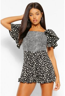 Black Mixed Spot Ruffle Sleeve Playsuit
