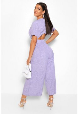 Lilac purple Woven Polka Dot Out back Jumpsuit