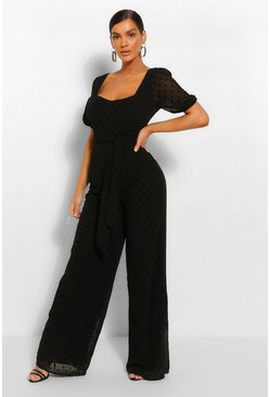 Black Puff Sleeve Dobby Chiffon Belted Wide Leg Jumpsuit