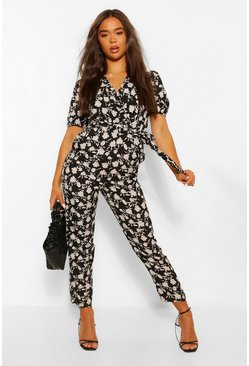Black Woven Floral Puff Sleeve Tapered Leg Jumpsuit