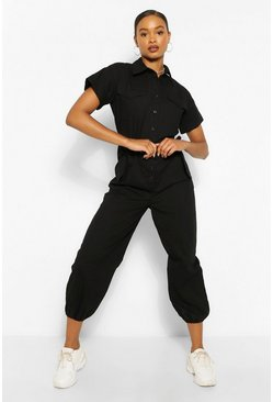 Black Woven Turn Up Cuff Belted Jumpsuit