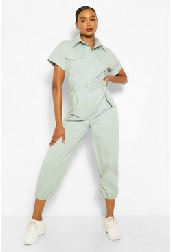 Sage green Woven Turn Up Cuff Belted Jumpsuit