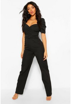 Black Woven Volume Sleeve Sweetheart Belted Jumpsuit