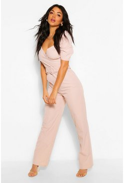 Blush Woven Volume Sleeve Sweetheart Belted Jumpsuit