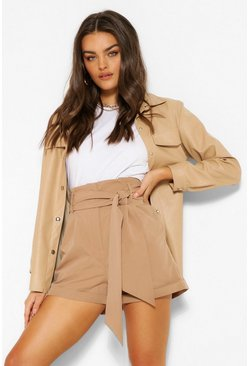 Camel beige High Waist Self Belted Tailored Shorts