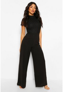 High Neck Lace 2-1 Cap Sleeve Jumpsuit, Black noir