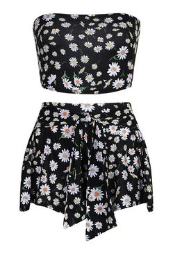 Black Daisy Bandeau and Flippy Short Co-Ord Set