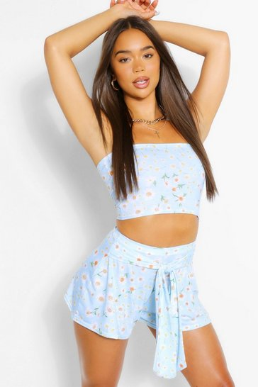 Pacific blue blue Daisy Bandeau and Flippy Short Co-Ord Set