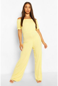 Lemon yellow Bardot Puff Sleeve Wide Leg Jumpsuit