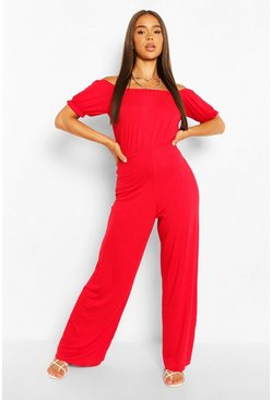 Red Bardot Puff Sleeve Wide Leg Jumpsuit