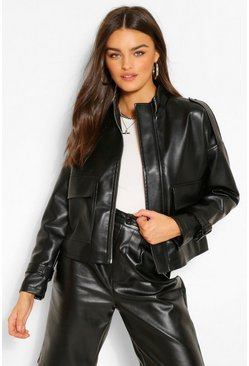 Black Oversized Boxy Faux Leather Jacket