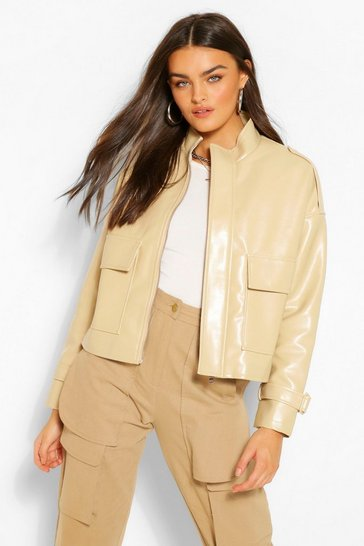 Stone beige Oversized Boxy Faux Leather Jacket
