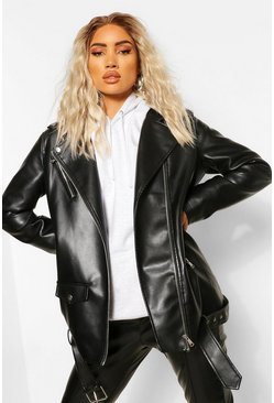 Black Oversized Longline Faux Leather Jacket