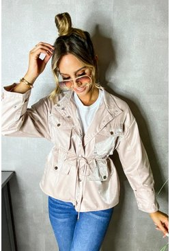 Blush Satin Tie Waist Utility Jacket