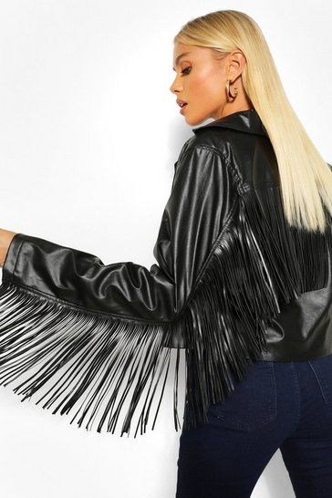 Black Pu Fringed Jacket