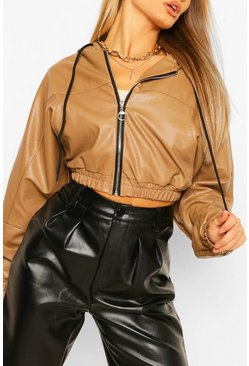 Camel beige Oversized Cropped Leather Look Bomber Jacket