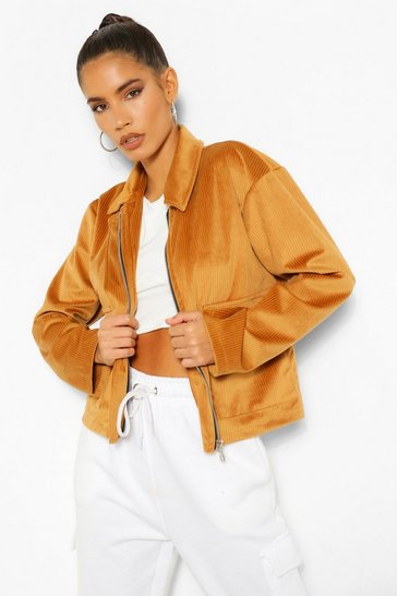 Tan Jumbo Cord Cropped Jacket