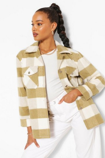 Olive Oversized Check Shacket