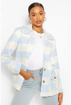 Blue Oversized Check Coat