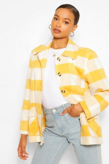 Mustard yellow Oversized Check Coat