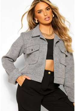 Silver Cropped Popper Front Jacket