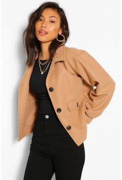 Camel beige Cropped Wool Look jacket