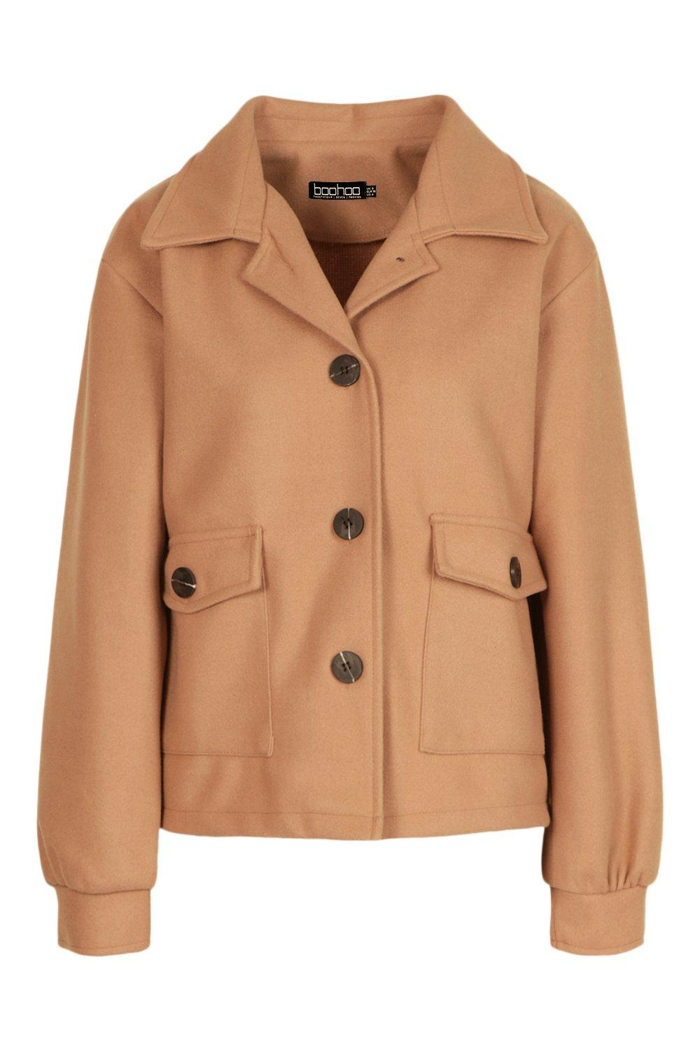 Vintage Coats & Jackets | Retro Coats and Jackets Womens Cropped Wool Look Jacket - Beige - 12 $35.00 AT vintagedancer.com