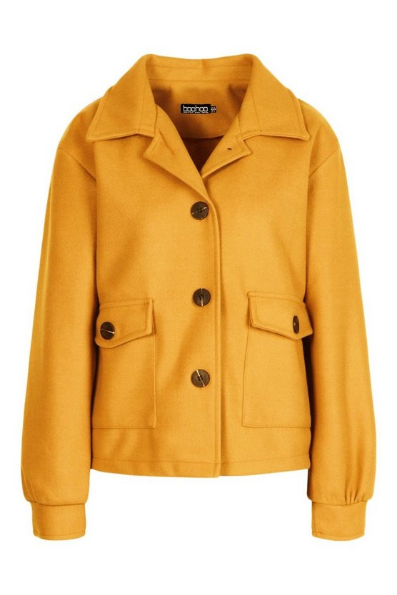 Vintage Coats & Jackets | Retro Coats and Jackets Womens Cropped Wool Look Jacket - Yellow - 12 $35.00 AT vintagedancer.com
