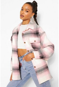 Pink Oversized Check Boyfriend Shacket