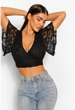 Black Lace Angel Sleeve Wrap Crop Top