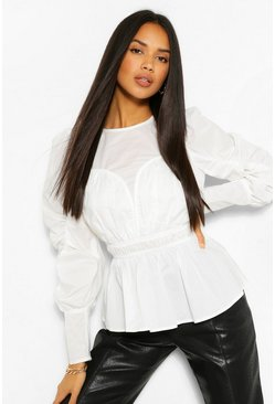 Wit white Geweven Peplum Top Met Panelen