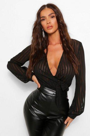 Black Woven Stripe Wrap Bodysuit