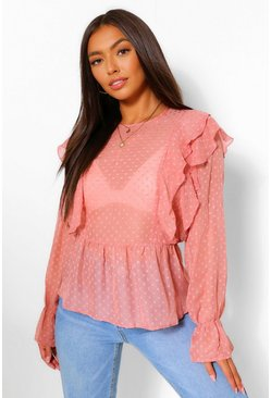 Rose pink Geweven Dobby Peplum Top Met Ruches