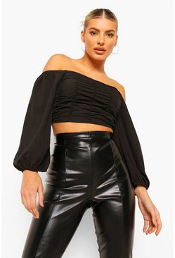 Black Woven Ruched Oversized Sleeve Crop Top