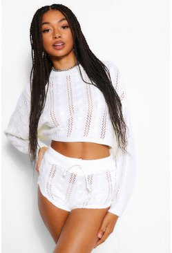 Ivory white Pointelle Knitted Two-Piece