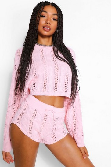 Pink Pointelle Knitted Co-ord