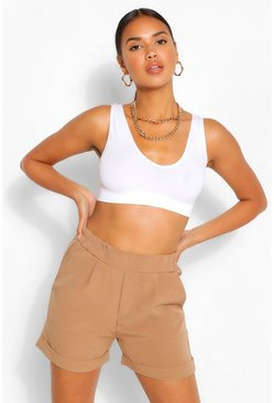 Camel beige Woven Stretch Shorts